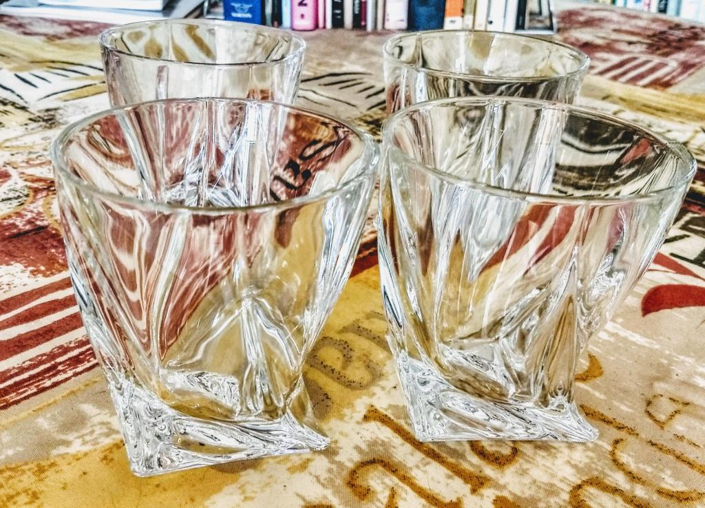 My set of four shiny new drinking glasses